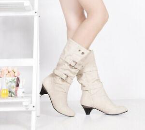 Womens Round Toe Kitten Heels Retro Buckle Strap Cowboy Mid Calf Boots Shoe Size