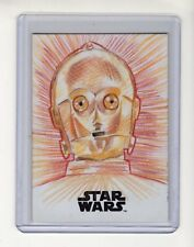 2018 Star Wars C3PO Sketch Card Autographed by Artist Angelina Benedetti