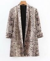 Long Sleeve Shawl Collar Pocket Snakeskin Print Elegant Blazer Jacket Casual