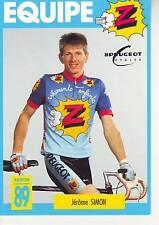 CYCLISME carte cycliste JEROME SIMON équipe Z  peugeot 1989