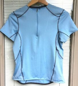 Champion Top Womens Medium Light Blue Fitted 1/4 Zip S/S Stretchy Mesh Running