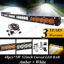 52 INCH CREE SINGLE ROW LED CURVED LIGHT BAR OFFROAD WORK DRIVING LIGHT + WIRING