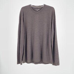Smartwool Baselayer Pullover Mens XL Brown Merino Wool Crew Neck Long Sleeve