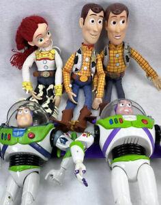 """Toy Story Lot Of 5 Woody Jessie Buzz Lightyear Pull-string 15"""" Disney Pixar"""