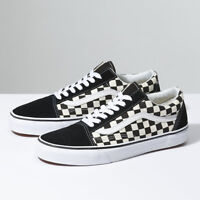 Vans Old Skool ( PRIMARY CHECK) BLK/WHITE Shoes Classic Canvas/Suede Fast ship