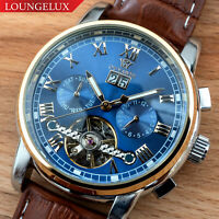 Mens Flywheel Quality Luxury Bling Skeleton Automatic Mechanical Watch Leather