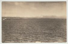 Real Photo Postcard Olympia Mountains from Seattle, Washington with Small Boat