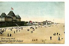 Ocean Beach Looking North-Old Orchard-Maine-Vintage 1906 Postcard