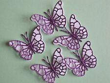 12 piccole 3D Die Cut Glitter Viola Decorazioni Di farfalla/carta bianca