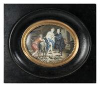 RARE Fine Antique French Miniature Painting, Portrait: Loss of Virtue, 3 Figures