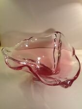 Vintage Art Glass Crystal Centerpiece Bowl - Pink & Clear - Swirl Case Glass