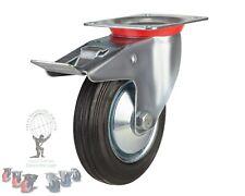"HEAVY DUTY Rubber Industrial Castor 8"" Wheel Castor 200mm Braked castor"