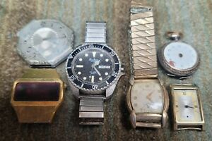Lot of 6 Vintage Watches for Parts or Restoration: Elgin Pocket, Benrus, Laco