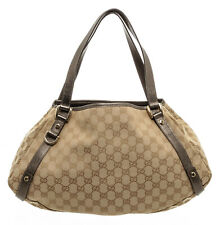 Gucci Brown Tan GG Canvas Leather Abbey Hobo Bag