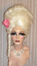Drag Queen Wig Big Tall Up Do No Bangs Platinum Blonde Twist Curls