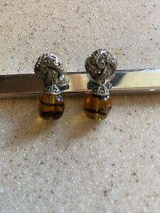 Judith Jack Vintage Marcasite Drop Earrings Tiger Eye Type Stone Used