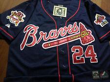 Brand New Atlanta Braves #24 Deion Sanders majestic Blue Dualpatch Jersey men M