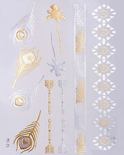 Silber Gold Flash Tattoos Fake Klebe Tattoo Armbänder Pfauenfeder Palme YS-15