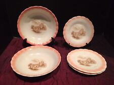 6 Vintage White Milk Glass 4 Dessert Plates 2 Bowls Scalloped Rim Made in USA
