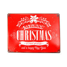 """Vintage Style Metal Rectangle """"Merry Christmas"""" Sign, Red, 15-3/4-Inch"""