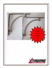Shelf Support Bracket-PAIR- Brushed Steel 220mm- Kitchen, Bedroom, Office Living