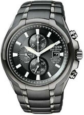 New Citizen Eco-Drive Chronograph Black Titanium Men's Watch CA0265-59E