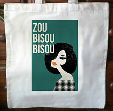 Eco friendly shabby Zou Bisou Bisou coton sac fourre-tout cabas impression vintage No.2