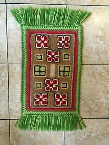 Vintage Small Wool Woven Fringed Area Rug Green Red Home Decor Bedroom