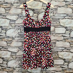 JFW Womens A-Line Dress Size Large Polka Dot Bubble Hem Sleeveless Scoop Neck