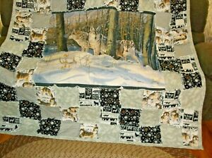 Wolves in the Wild,,, Panel Rag Quilt.. Large and Warm