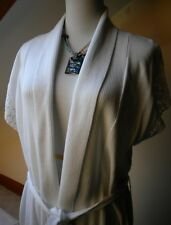 ONE A Tunic Sweater White Knit Wrap Solid Cotton Blend Short Dolman sleeves.Sz L