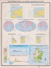 1941 MAP ~ MAP PROJECTIONS & RELIEF REPRESENTATION MERCATORS GALLS BONNES CONIC
