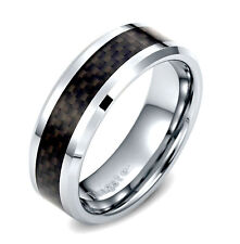 Tungsten Mens Black Grid Carbon Fiber 8MM Wedding Band Man Wedding Ring SR87