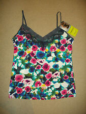 Holeproof: Size: 12. Colourful/Slate Lace Trim, Silky Touch, Stretch Comfy Cami