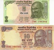 India 5 & 10 Rupees Unc. With The Same Holly # 786