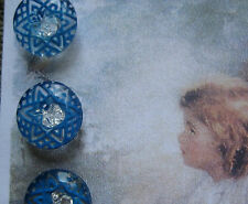 "Set of 4 Vintage 1/2"" Lapis Blue  Crystal Star Line Glass Buttons~ new/old stock"