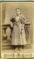 A. PROUZET portrait jeune fille mode fashion CDV photo PARIS 1890