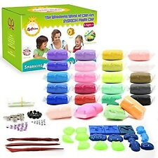 SySrion Air Dry Clay 24 Colors Ultra Light Modeling Clay Magic Crafts Kit - E...