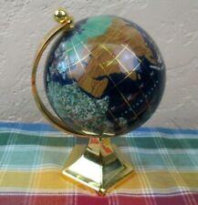 "Desktop Inlaid Stone Shell Oyster Rotating Earth World Globe - 5-3/4"""