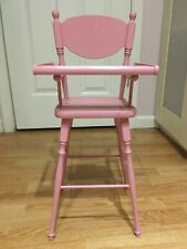 """Vintage Wooden Pink Doll High Chair 24.5"""" Tall"""