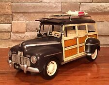 Tin Metal 1949 Ford Woody Wagon with Surf Board Vintage Model Car