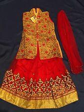 "18"" Age 1 Size Lahenga Choli Indian Bollywood Kids Dress Girls Skirt Red Gold"