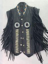 Men's Sun Riders Vest Western Biker Indian Leather Fringed Beaded Black Medium