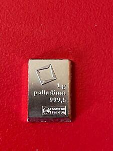 1 Gram .9995 Palladium Individual Bar Valcambi * Rare * Nice *