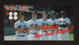 Boston Red Sox--Burks--Greenwell--Benzinger--1988 Pocket Schedule--Ames