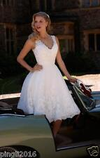 New White/Ivory Lace Knee Length Wedding Dress Bridal Gown Stock Size 6-18