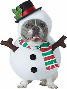 Snowman Frosty Christmas Holiday Fancy Dress Up Halloween Pet Dog Cat Costume