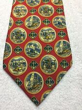 TOMMY HILFIGER MENS TIE RED WITH GOLD, SHIPS AND ANCHORS 4 X 58