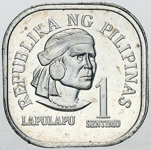 1975 PHILIPPINES 1 SENTIMO BU AMAZING LUSTER BLAST WHITE UNC GEM (MR)