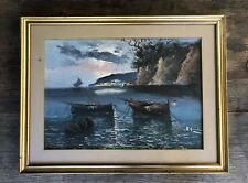 LRG VINTAGE FRAMED WATER COLOUR PAINTING ON CANVAS. EUROPEAN SEASIDE  A.GIODARNO